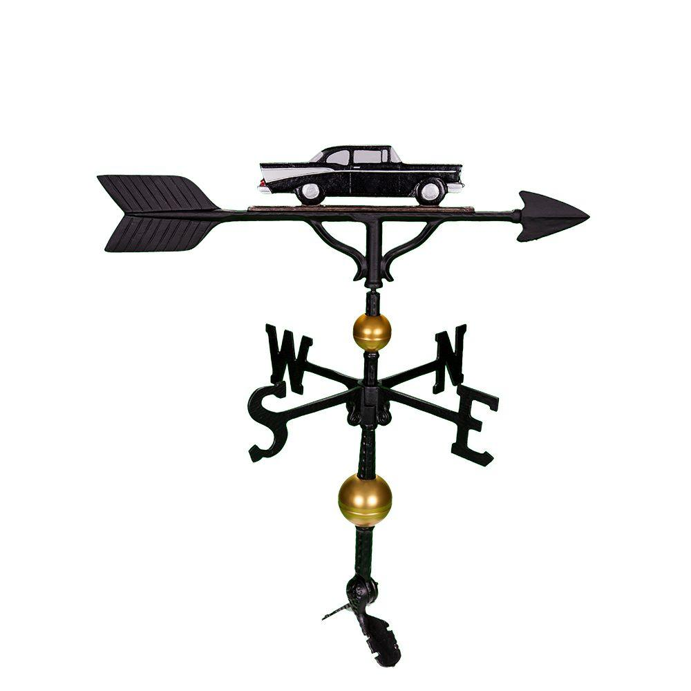 32 in. Deluxe Black/White Classic Car Weathervane