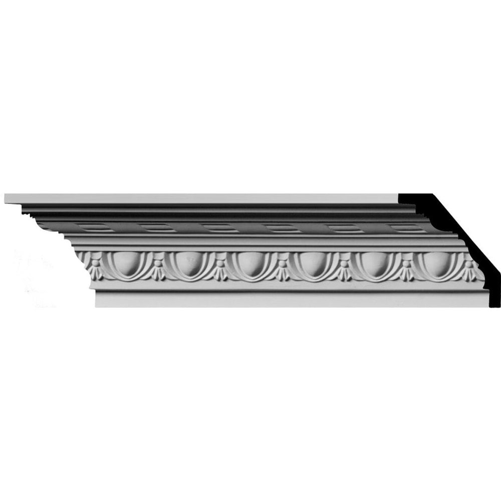 Ekena Millwork Polyurethane Crown Moldings/Jackson Egg & Dart with Rope Crown Molding 1 7/8' Repeat / 3'H x 3'P x 4 1/4'F x 96'