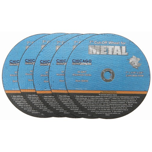 7 in. 40 Grit Metal Cut-off Wheel 5 Pc