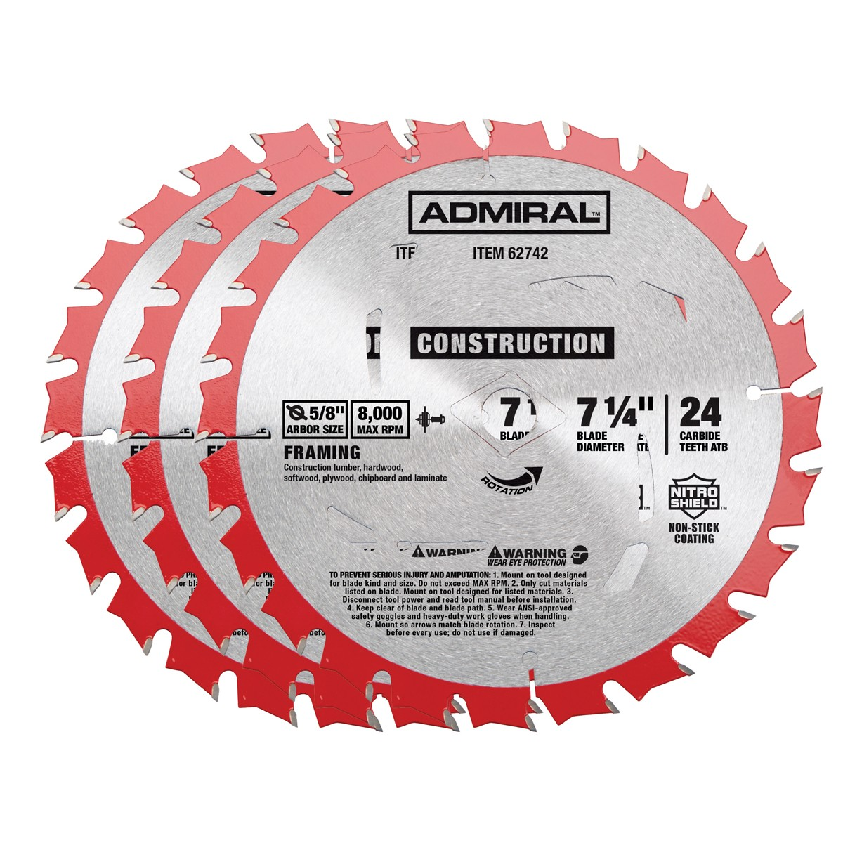 7-1/4 in., 24T Framing Circular Saw Blade 3 Pack